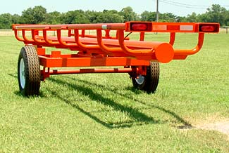 This is our 21' Four bale bumper pull model - Rear view