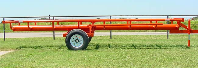 This is our 21' Four bale bumper pull model - Side view