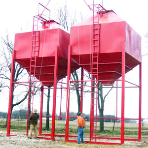 Twin Overhead Feed Grain Bins